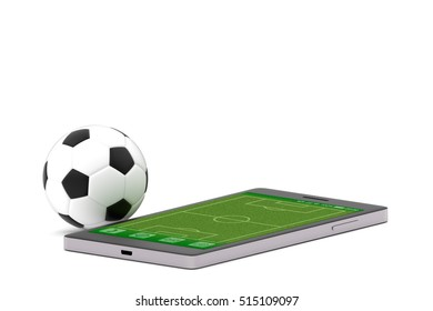 Soccer ball and smartphone on isolated white background, Innovation sport live style concept
