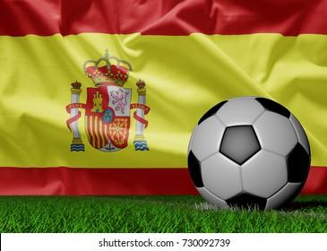 soccer ball and spain flag, 3D illustration