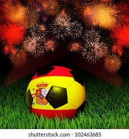Soccer ball with Spain flag pattern on the grass, fireworks celebration