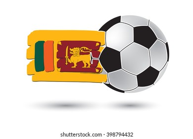 Soccer ball and Sri Lanka Flag with colored hand drawn lines