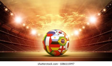 Soccer ball Stadium 3d rendering