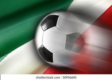 Soccer ball streaks across flag of Italy