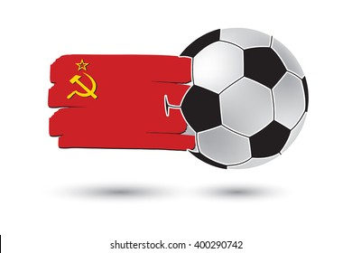 Soccer ball and USSR Flag with colored hand drawn lines