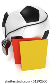 Soccer ball, whistle and red and yellow cards