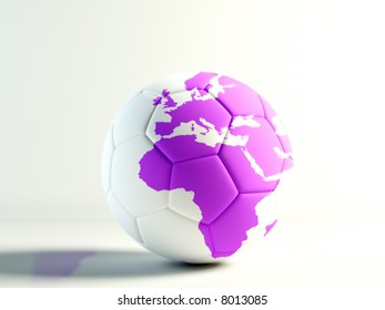 soccer ball with a  world map isolated over white