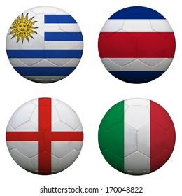 soccer balls with group D teams flags, Football Brazil 2014. isolated on white