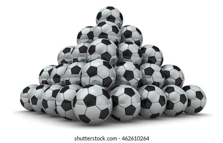 Soccer balls piled in form of pyramid on a white surface. Isolated. 3D illustration