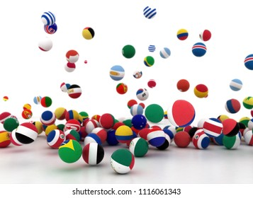Soccer balls with world national flags isolated on white background.3d render