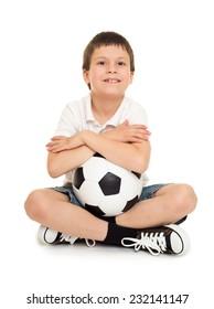 soccer boy studio isolated on white