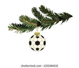 Soccer christmas ball hanging on the fir branch ,Sports steeling card