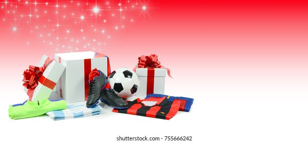 soccer christmas gift in present white box with red bow and ribbon on a faded red background with shining stars