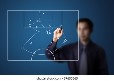soccer coach drawing strategy plan
