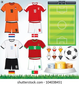 Soccer Collection.  Netherlands, Danish, Germany, Portuguese Teams clip art.