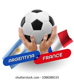 Soccer competition, national teams Argentina vs France