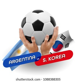Soccer competition, national teams Argentina vs South Korea