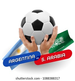 Soccer competition, national teams Argentina vs Saudi Arabia