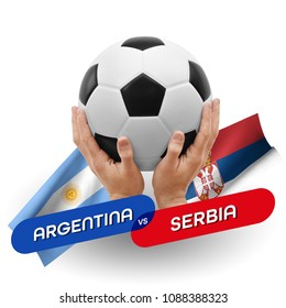 Soccer competition, national teams Argentina vs Serbia