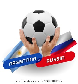 Soccer competition, national teams Argentina vs Russia