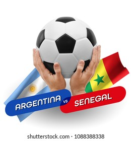 Soccer competition, national teams Argentina vs Senegal