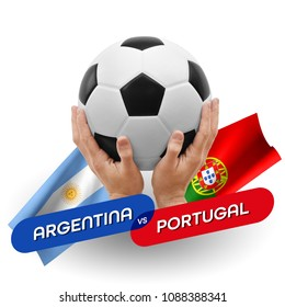 Soccer competition, national teams Argentina vs Portugal