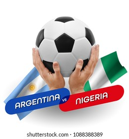 Soccer competition, national teams Argentina vs Nigeria