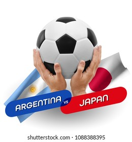 Soccer competition, national teams Argentina vs Japan