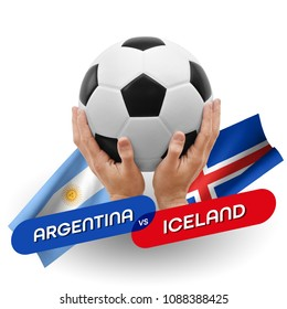 Soccer competition, national teams Argentina vs Iceland