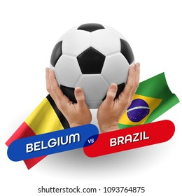 Soccer competition, national teams Belgium vs Brazil