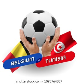 Soccer competition, national teams Belgium vs Tunisia