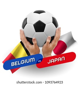 Soccer competition, national teams Belgium vs Japan