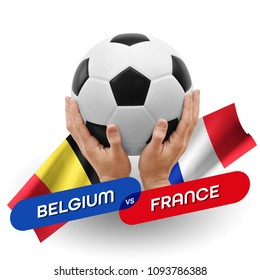 Soccer competition, national teams Belgium vs France