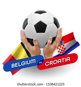 Soccer competition, national teams Belgium vs Croatia