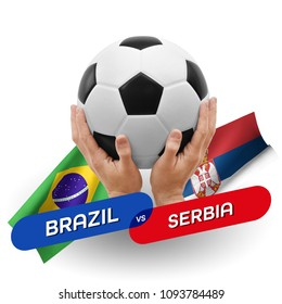 Soccer competition, national teams Brazil vs Serbia