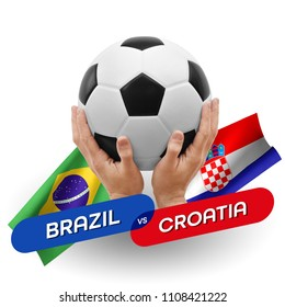 Soccer competition, national teams Brazil vs Croatia