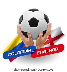 Soccer competition, national teams Colombia vs England