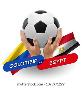 Soccer competition, national teams Colombia vs Egypt