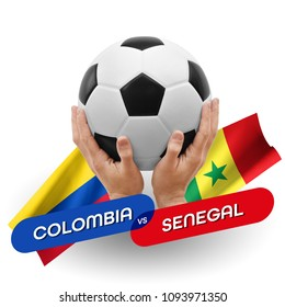 Soccer competition, national teams Colombia vs Senegal