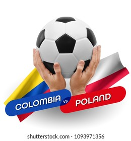 Soccer competition, national teams Colombia vs Poland