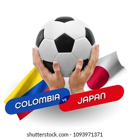 Soccer competition, national teams Colombia vs Japan