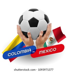 Soccer competition, national teams Colombia vs Mexico