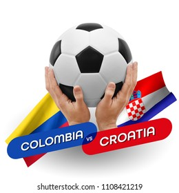 Soccer competition, national teams Colombia vs Croatia
