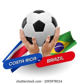 Soccer competition, national teams Costa Rica vs Brazil