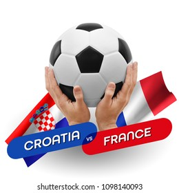 Soccer competition, national teams Croatia vs France