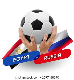 Soccer competition, national teams Egypt vs Russia