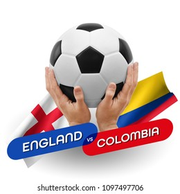 Soccer competition, national teams England vs Colombia