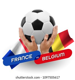 Soccer competition, national teams France vs Belgium