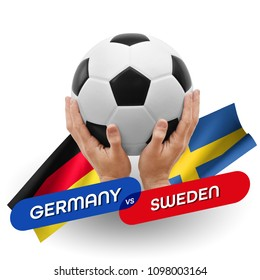 Soccer competition, national teams Germany vs Sweden