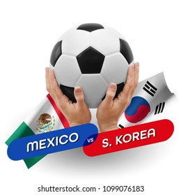Soccer competition, national teams Mexico vs South Korea