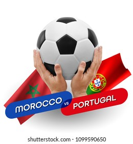 Soccer competition, national teams Morocco vs Portugal