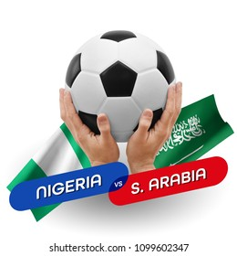 Soccer competition, national teams Nigeria vs Saudi Arabia